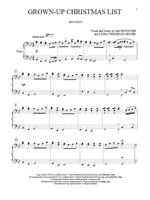 my grown up christmas list piano sheet music free