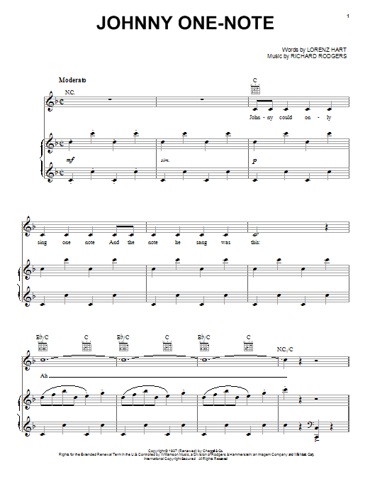 one note music sheet