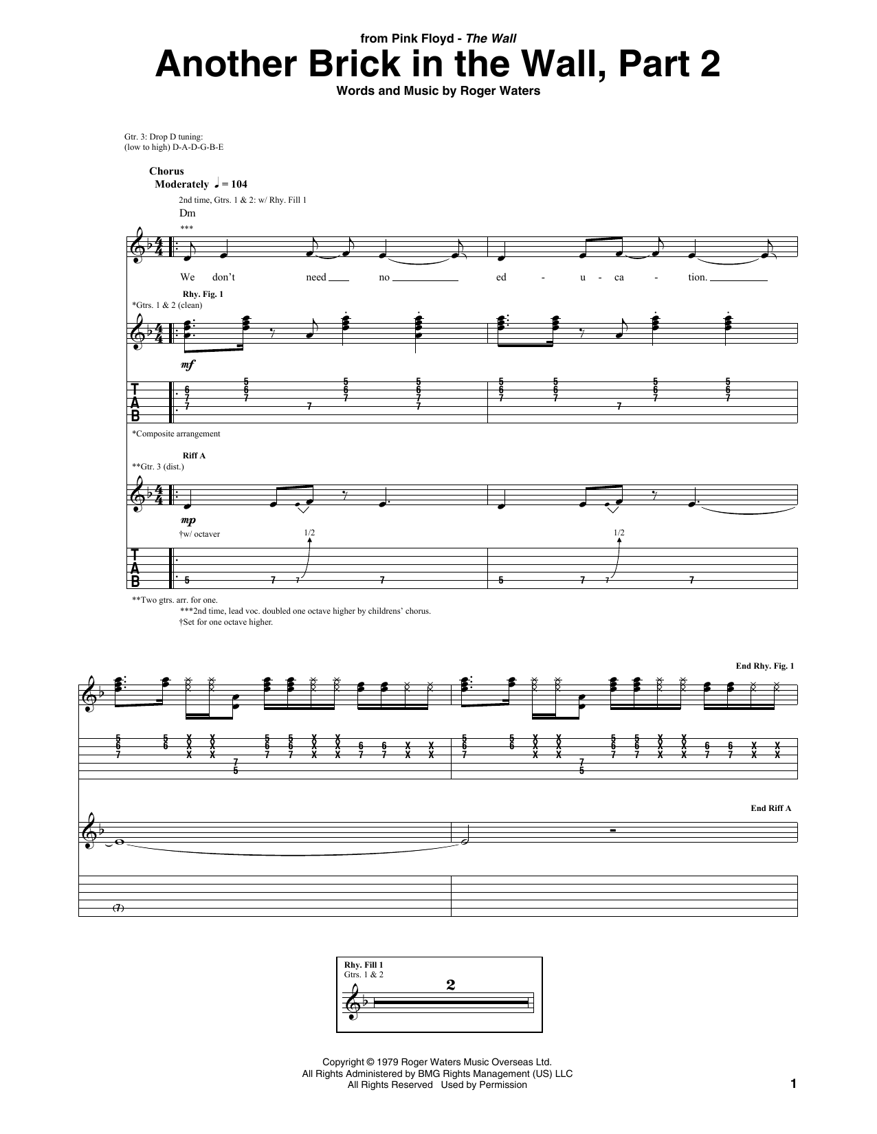 Brick Wall Sheet Another Brick In The Wall Part 2 Guitar Tab By Pink Floyd