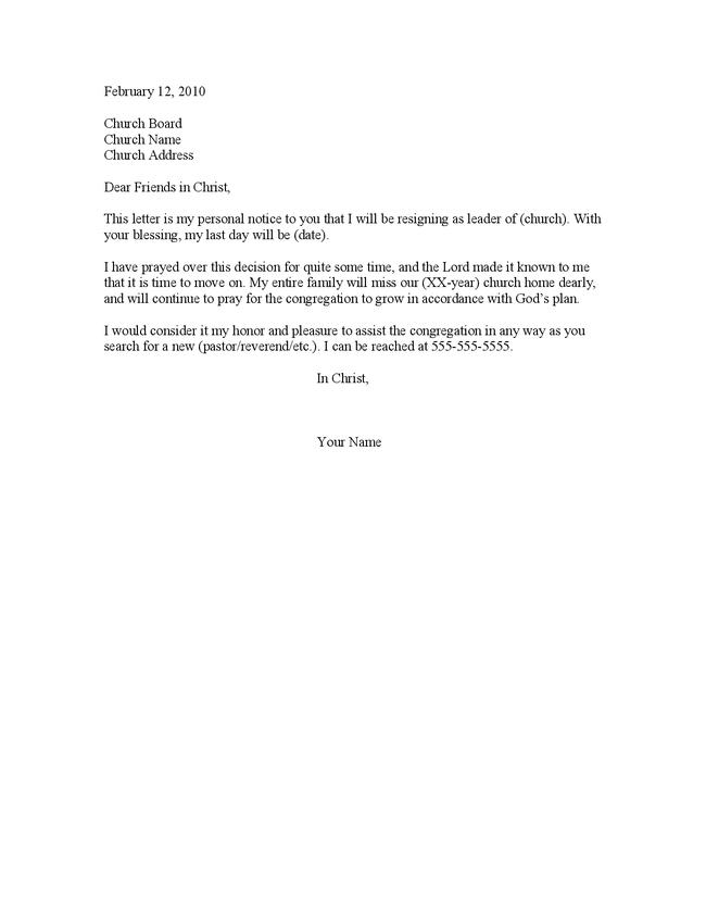 Resignation Letter Sample Church Position – Resignation Letter Church