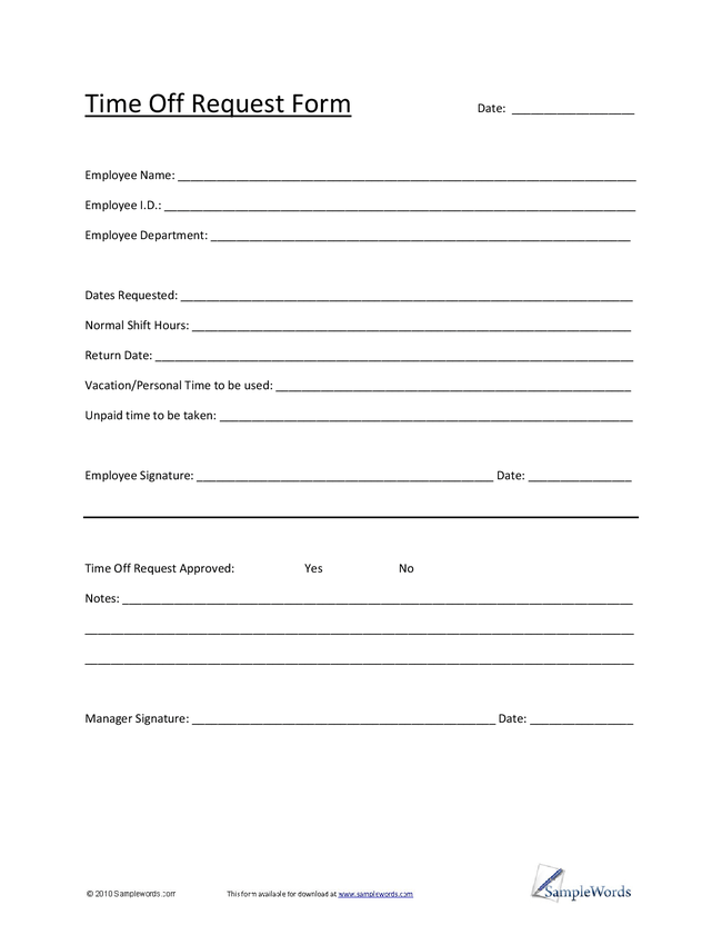 vacation request form template word