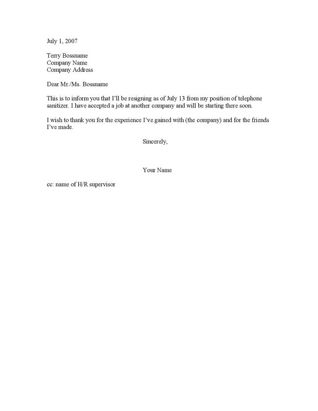 Quitting A Job Letter – Job Resign Letter Sample
