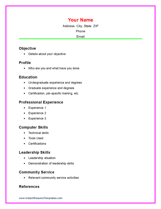 Intership Application Resume Template. 1000 Ideas About High