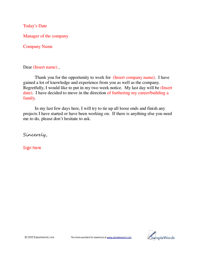 a basic sample letter of resignation about careers