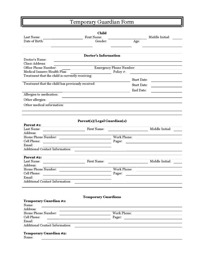Guardianship Form Colorado – Legal Guardianship Form