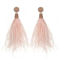 Suzanna Dai Blush Feather Earrings | HAUTEheadquarters