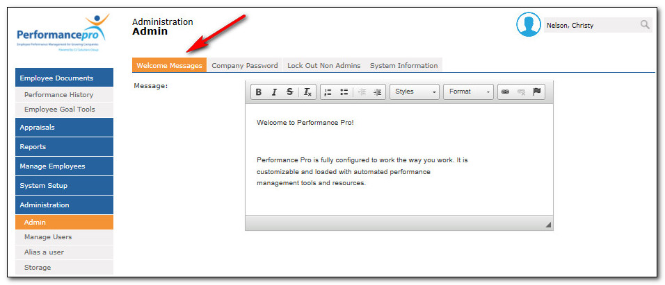 HR Performance Solutions \u2014 Setting up a Welcome Message for your users