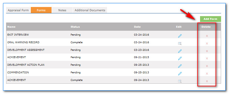 HR Performance Solutions u2014 Deleting Forms from Performance History - appraisal order form