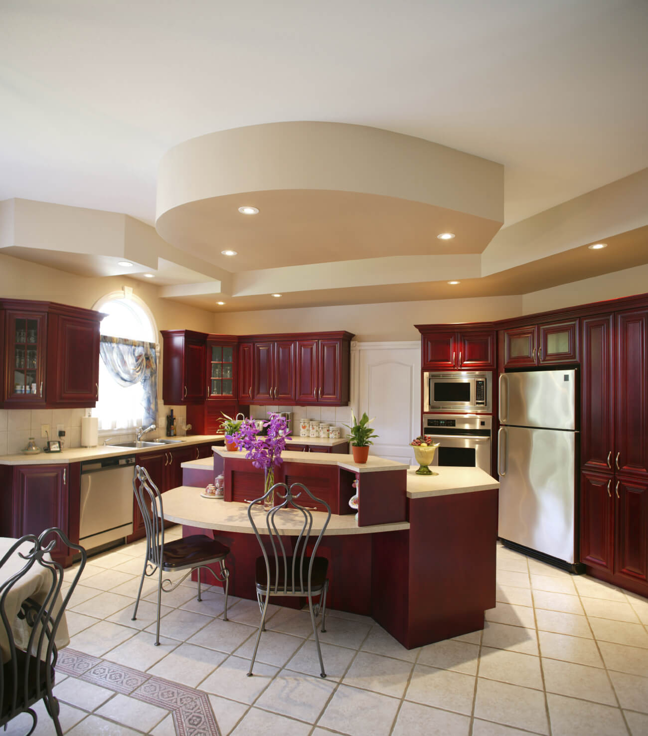 Charmful Red Wood Features Heavily This Contrasting Light Beigetile Ing Kitchens Counters Kitchen Island Ideas Islands Kitchens Central Islands kitchen Islands In Kitchens