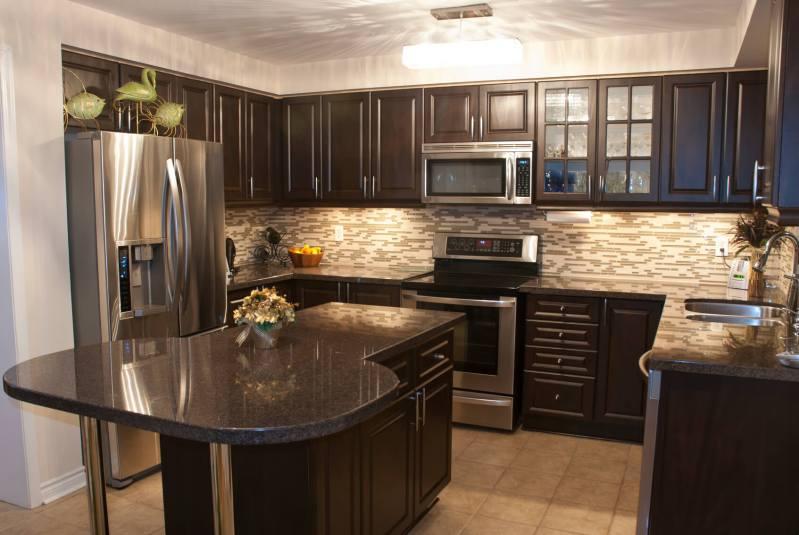 Large Of Dark Kitchen Cabinets