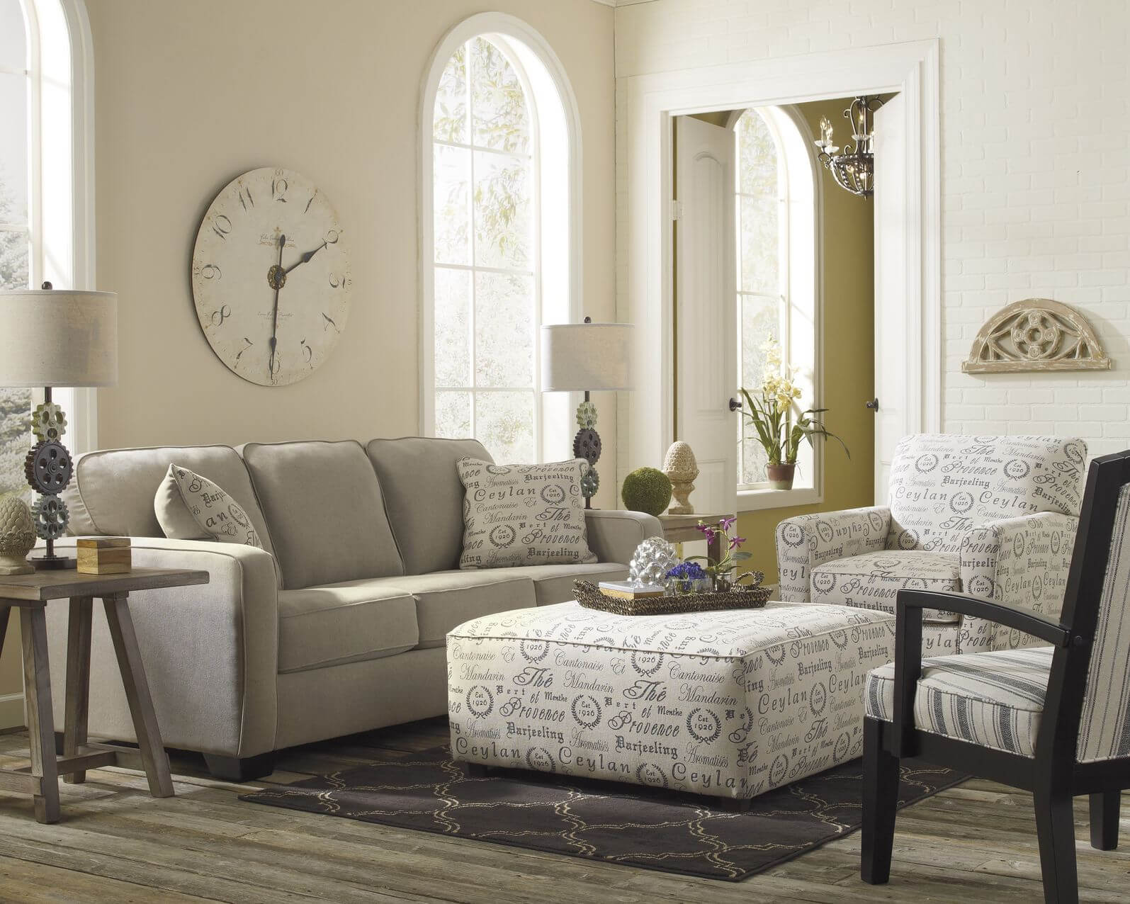 Fullsize Of White Armchair And Ottoman