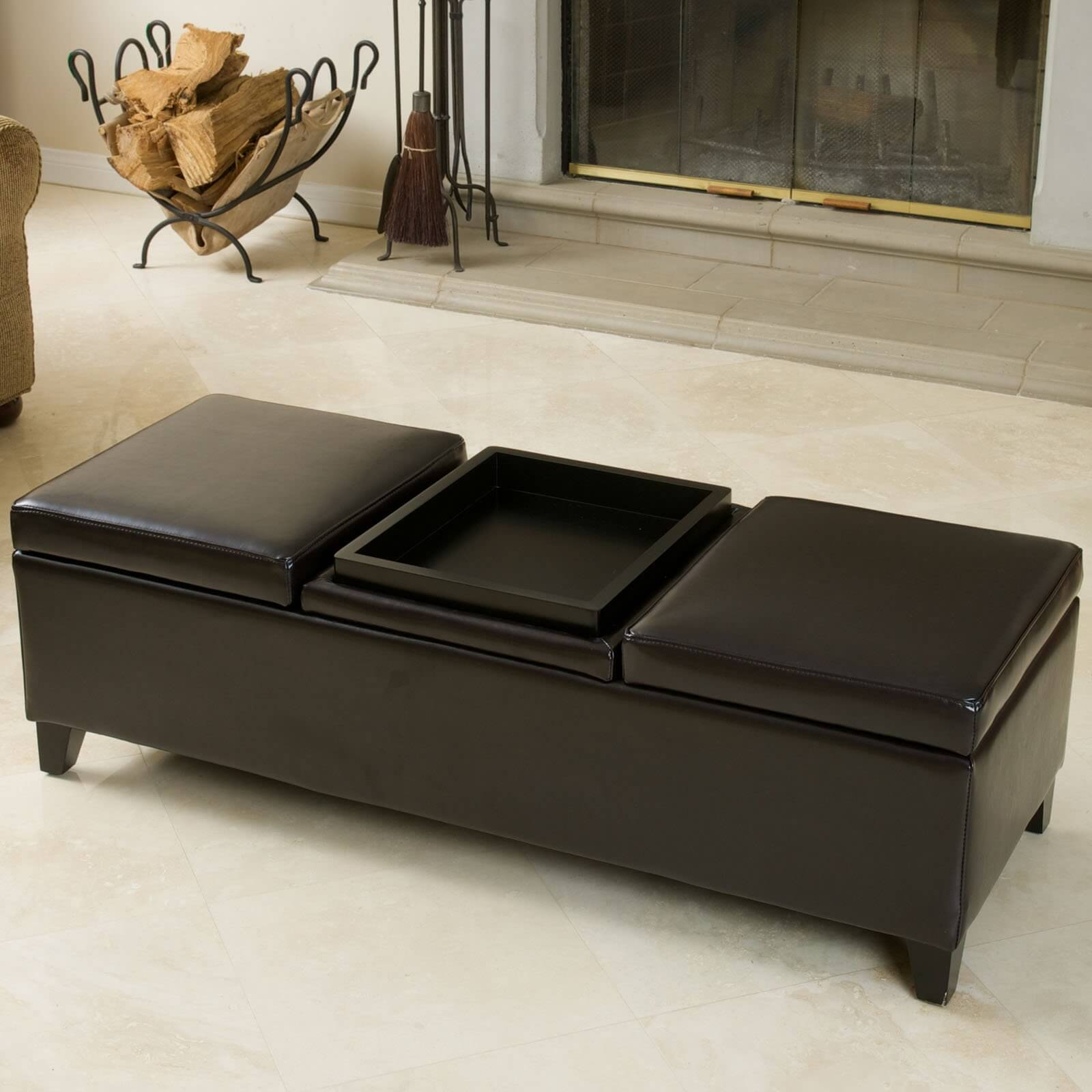 Center Tables With Storage 36 Top Brown Leather Ottoman Coffee Tables