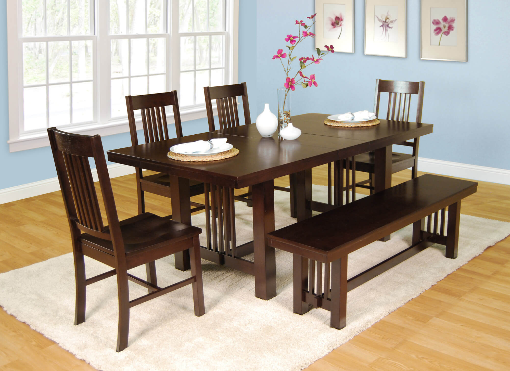 dining room sets bench seating small kitchen table Here s a very solid dining set with bench Table can be extended with a center