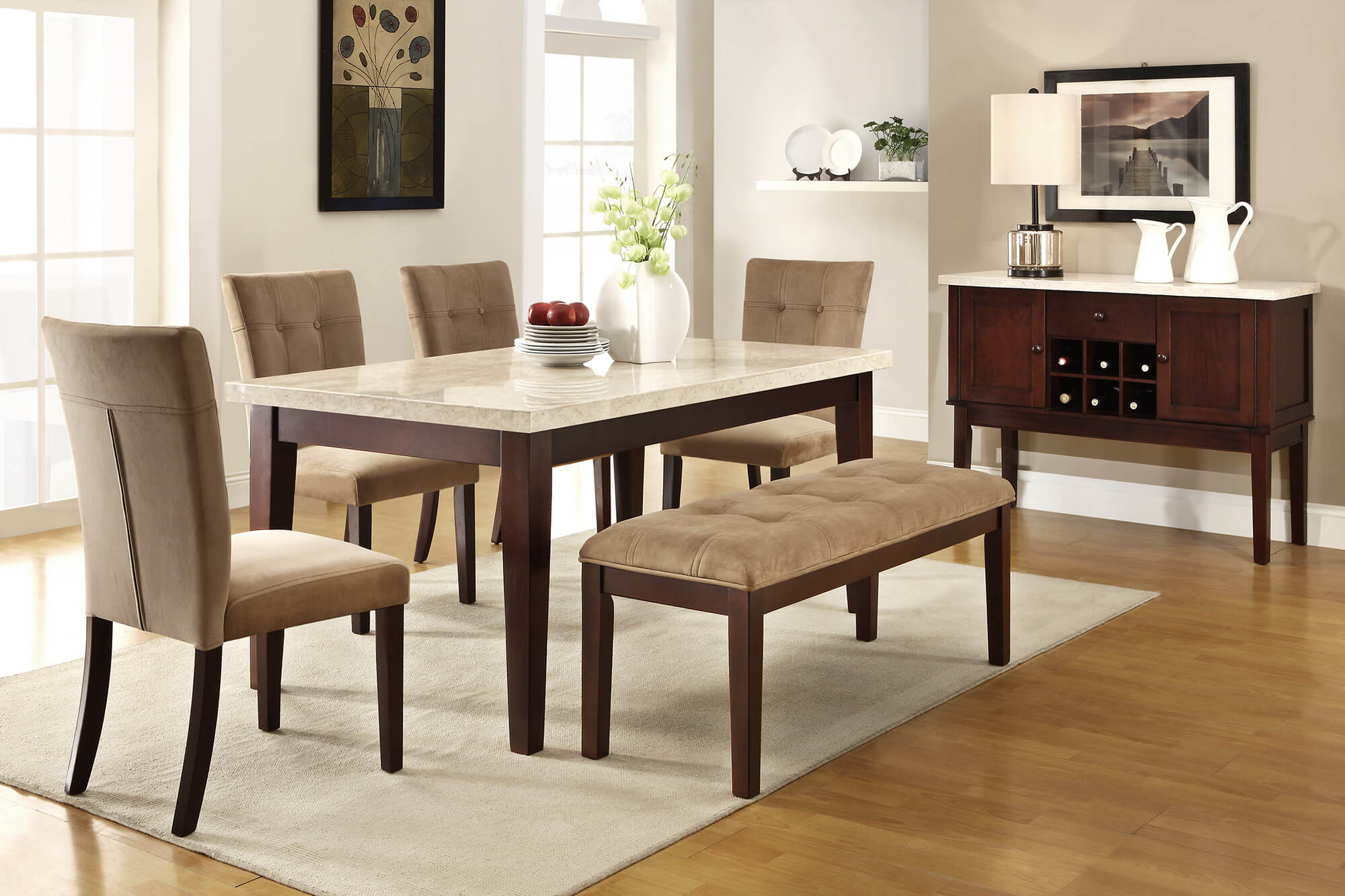 dining room sets bench seating kitchen table chairs Here s a 6 piece rubberwood dining set with faux marble table top with tan upholstery for