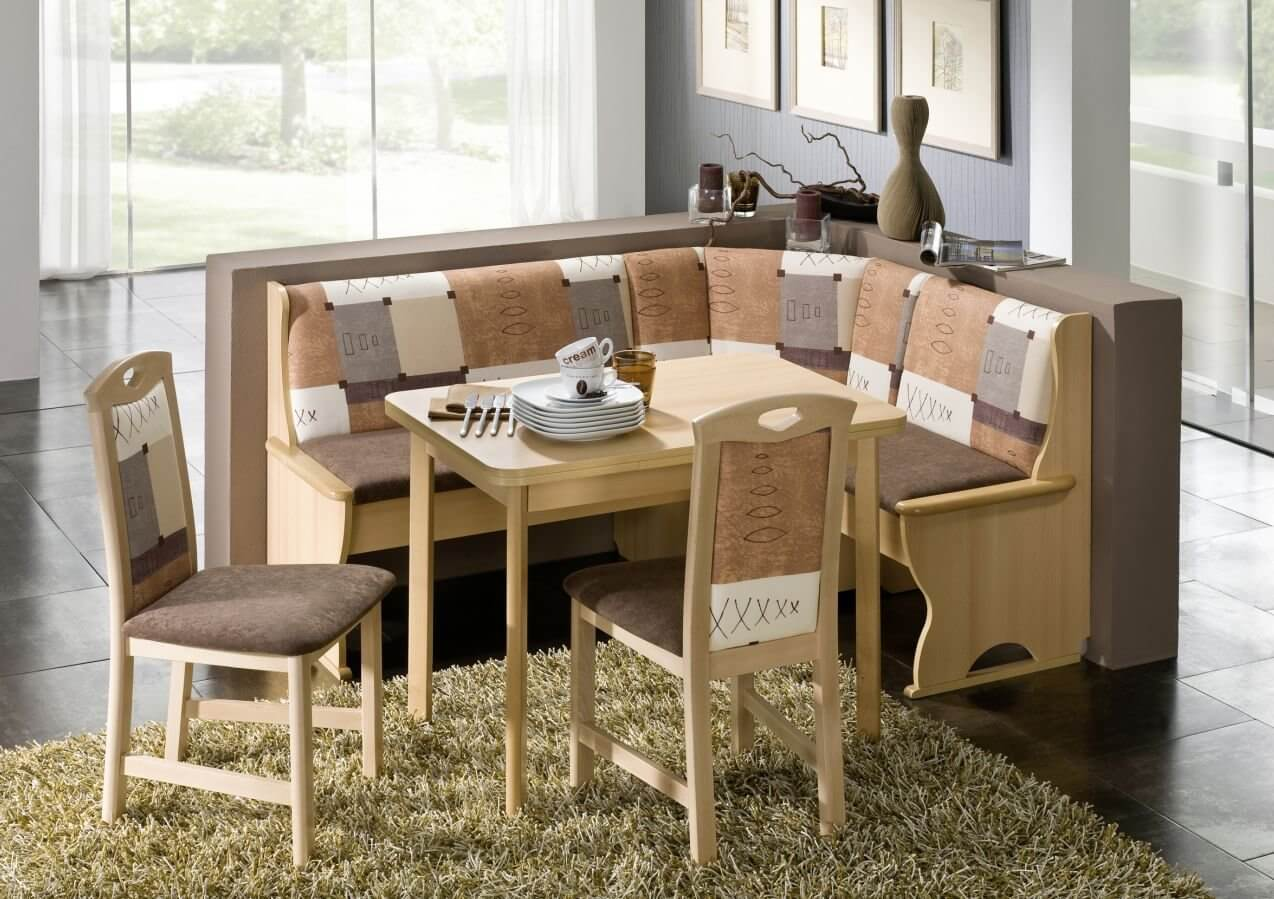 breakfast nook furniture sets solid wood kitchen tables Earth Tone L Shaped Breakfast Nook Table and Bench