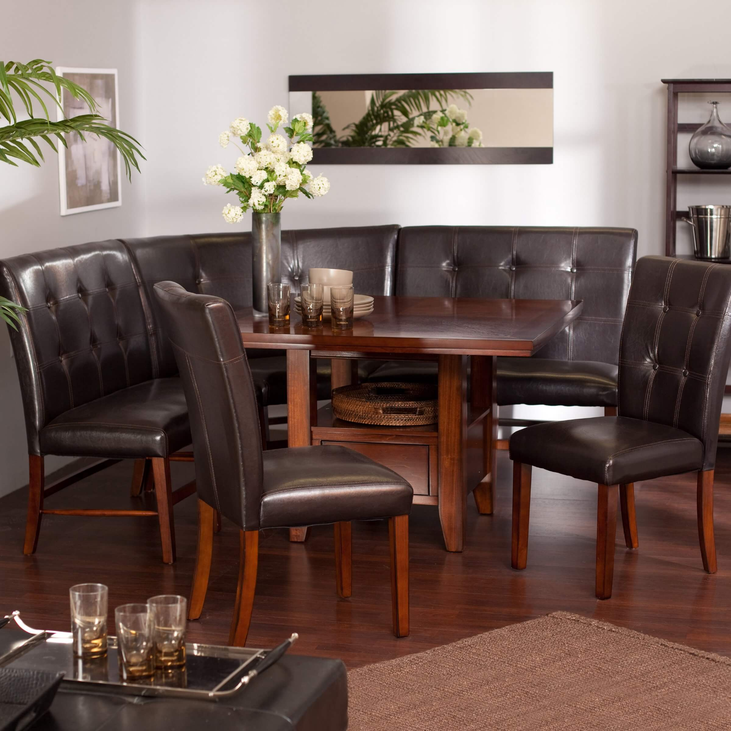This breakfast nook unit includes the wood table 2 dining benches corner bench and