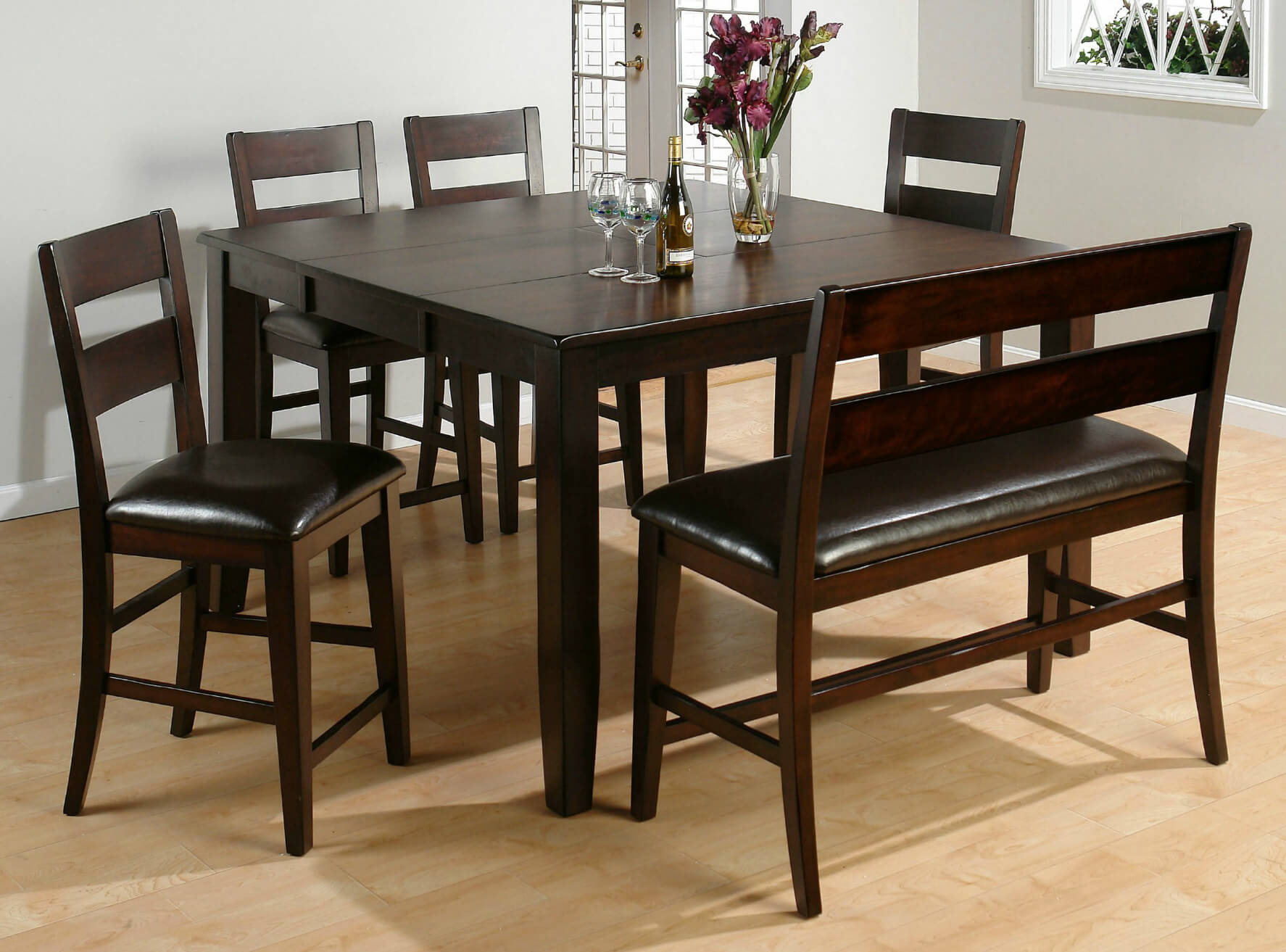 Here s a counter height square dining room table with bench moreover the bench includes