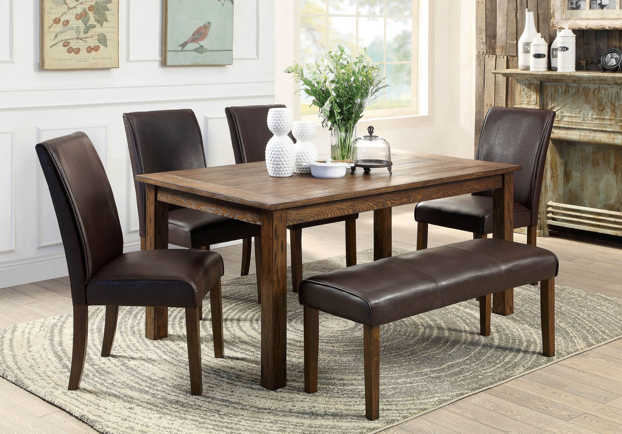 dining room sets bench seating small kitchen table set Here s a rustic rectangle dining table with fully cushioned chairs and bench This look works