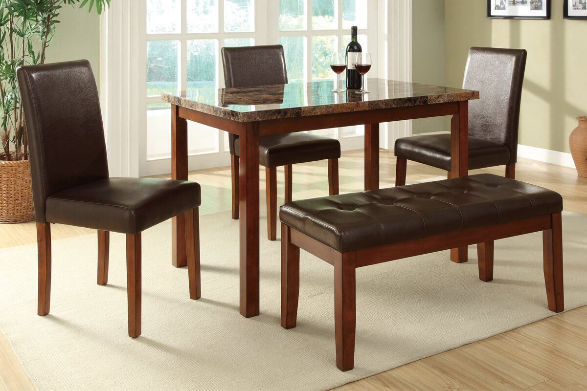 dining room sets bench seating kitchen table benches This is a bench dining set for a smaller space The small rectangle table accommodates