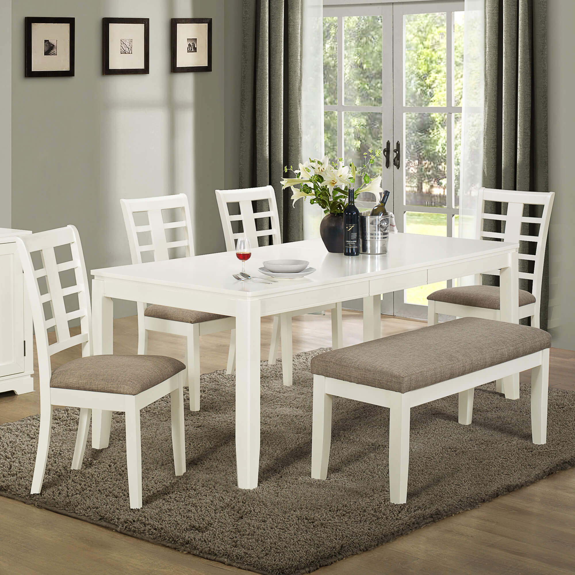 Built with solid wood and mdf board this white and grey dining set with bench