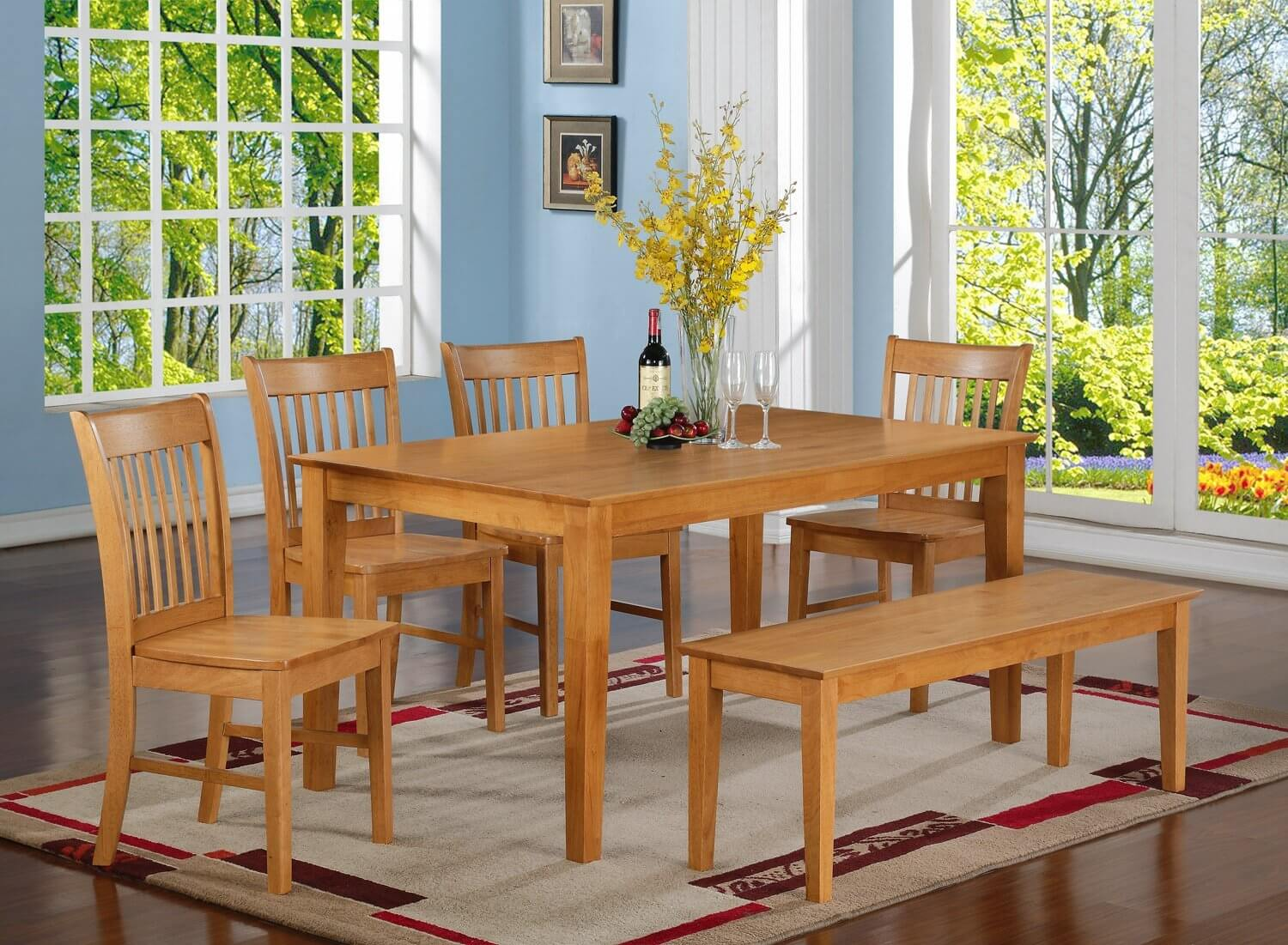 dining room sets bench seating kitchen tables sets Oak finish six piece bench style dining room set with large rectangle table It s