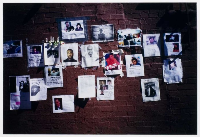 Missing persons posters on wall International Center of Photography