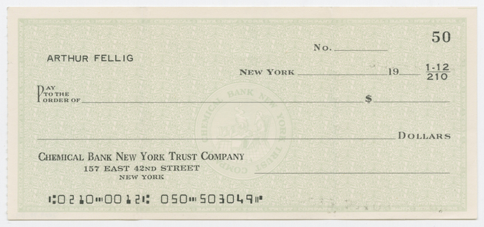 Blank Check from Weegee\u0027s Account at Chemical Bank New York Trust