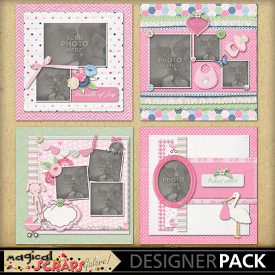 Digital Scrapbooking Kits Welcome Baby Girl Template-(MSG
