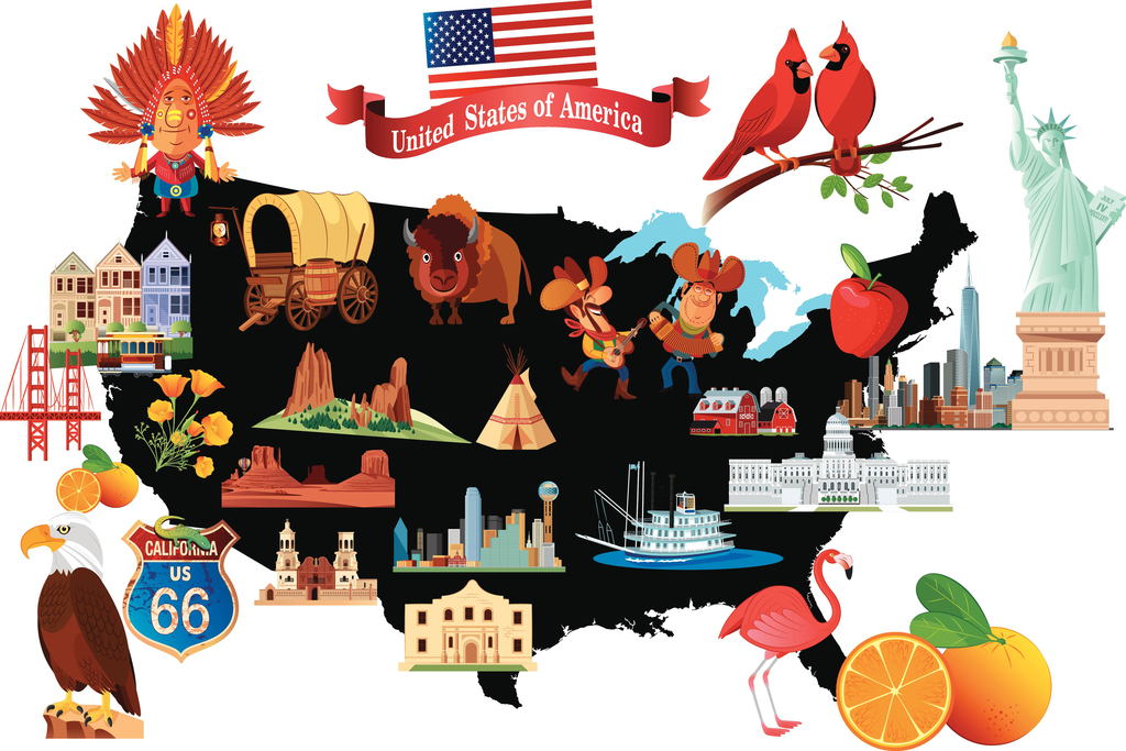 Cartoon Map of the United States USA with Symbols Art Print Poster