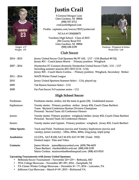 high school football resume samples
