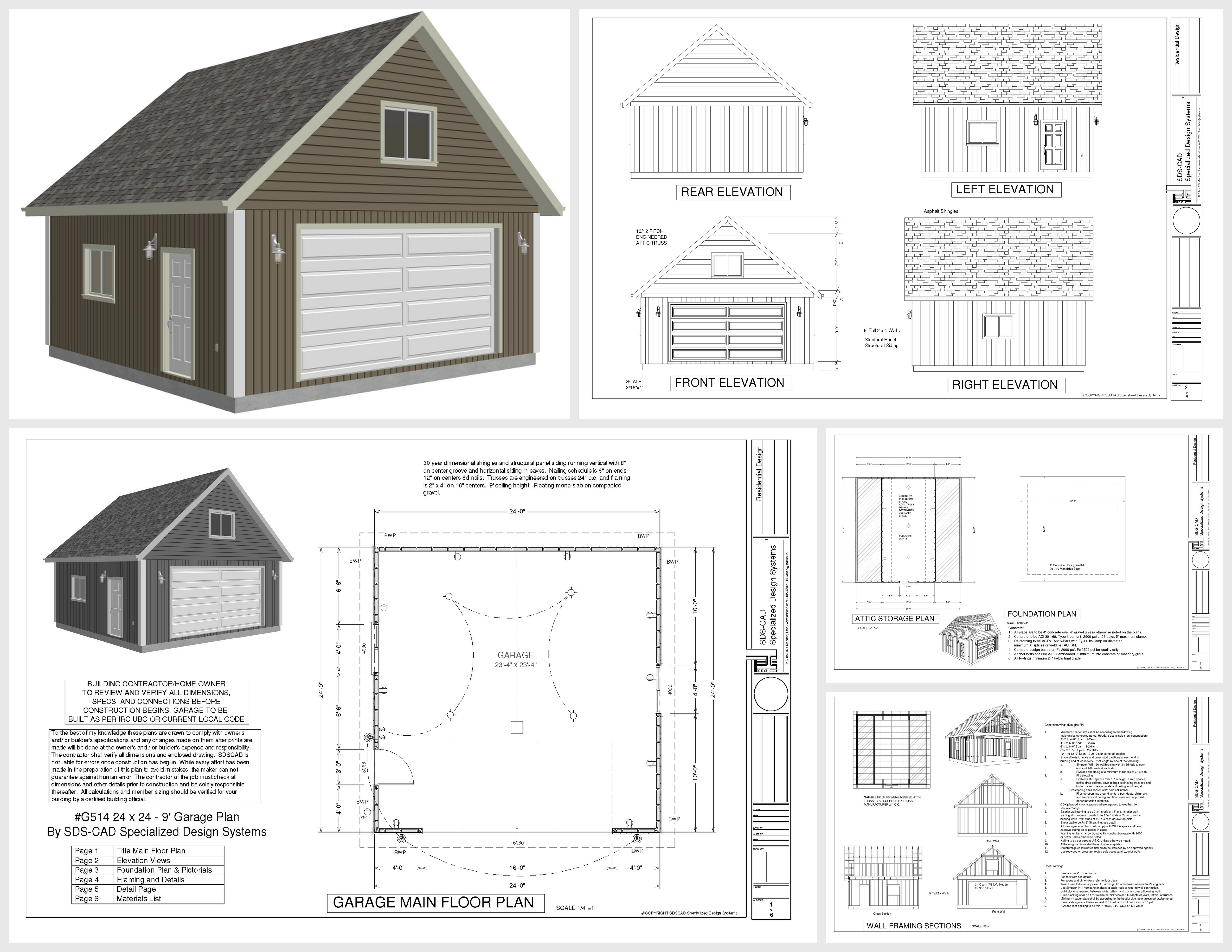 Complete House Plan G514 24 X 24 X 9 Loft Garage Plans In Pdf And Dwg Guest