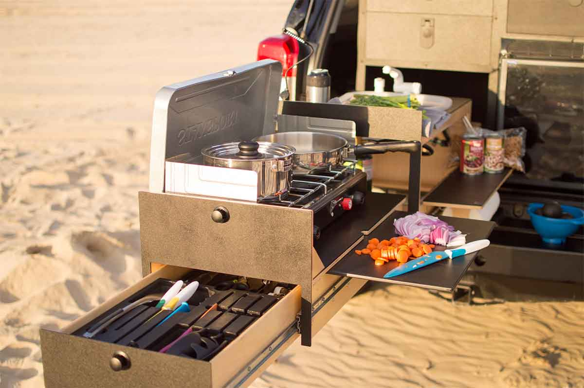Caravan With Slide Out Kitchen Slide Out Truck Kitchen For Overland Vehicles Gearjunkie