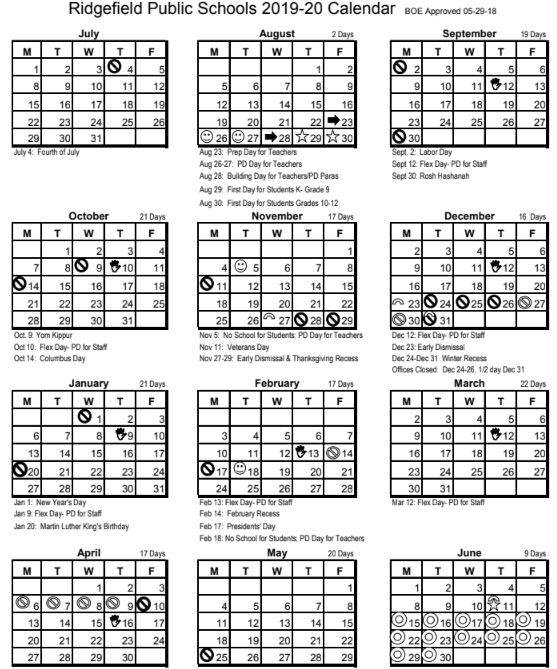 Ridgefield Public Schools Calendars for 2019-20 and 2020-21 School Years