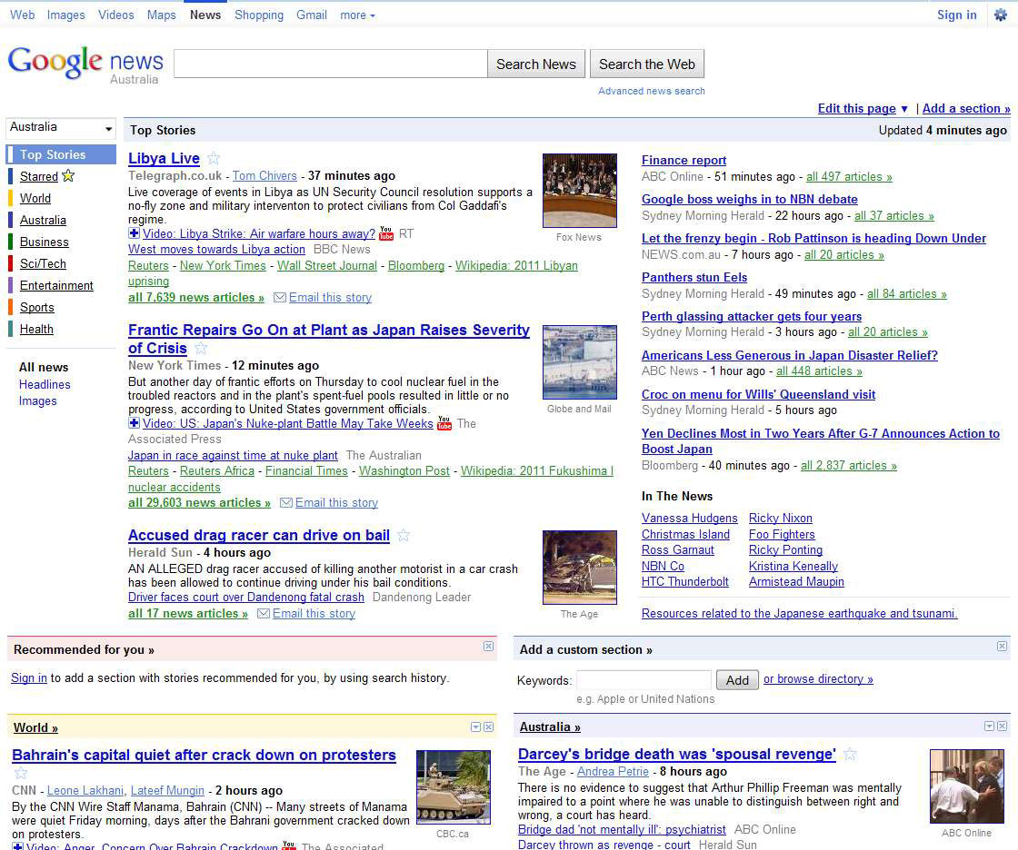 Google Home Aus Google News Testing Quotclusters Quot Home Page