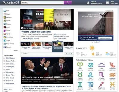 Yahoo's Testing New Home Page Design: Drops Purple Yahoo Logo