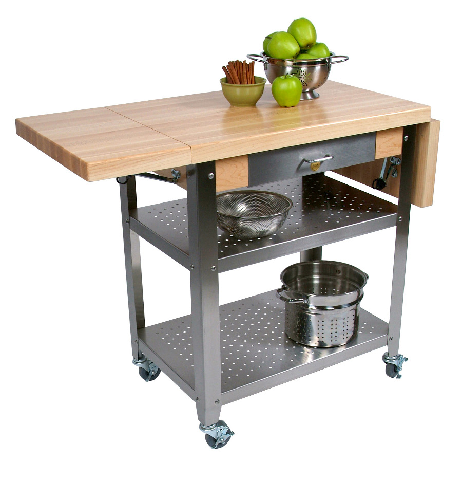 Portable Center Kitchen Islands John Boos Cucina Elegante Wood-steel Kitchen Cart