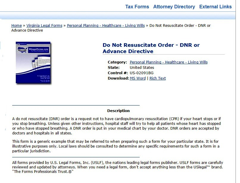 About - About Legal Forms - Research Portal at Arlington Public Library - do not resuscitate forms