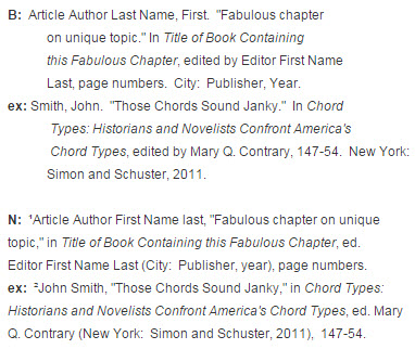 Chapters  Essays - Music Citations Turabian/Chicago Style - chicago style footnotes example