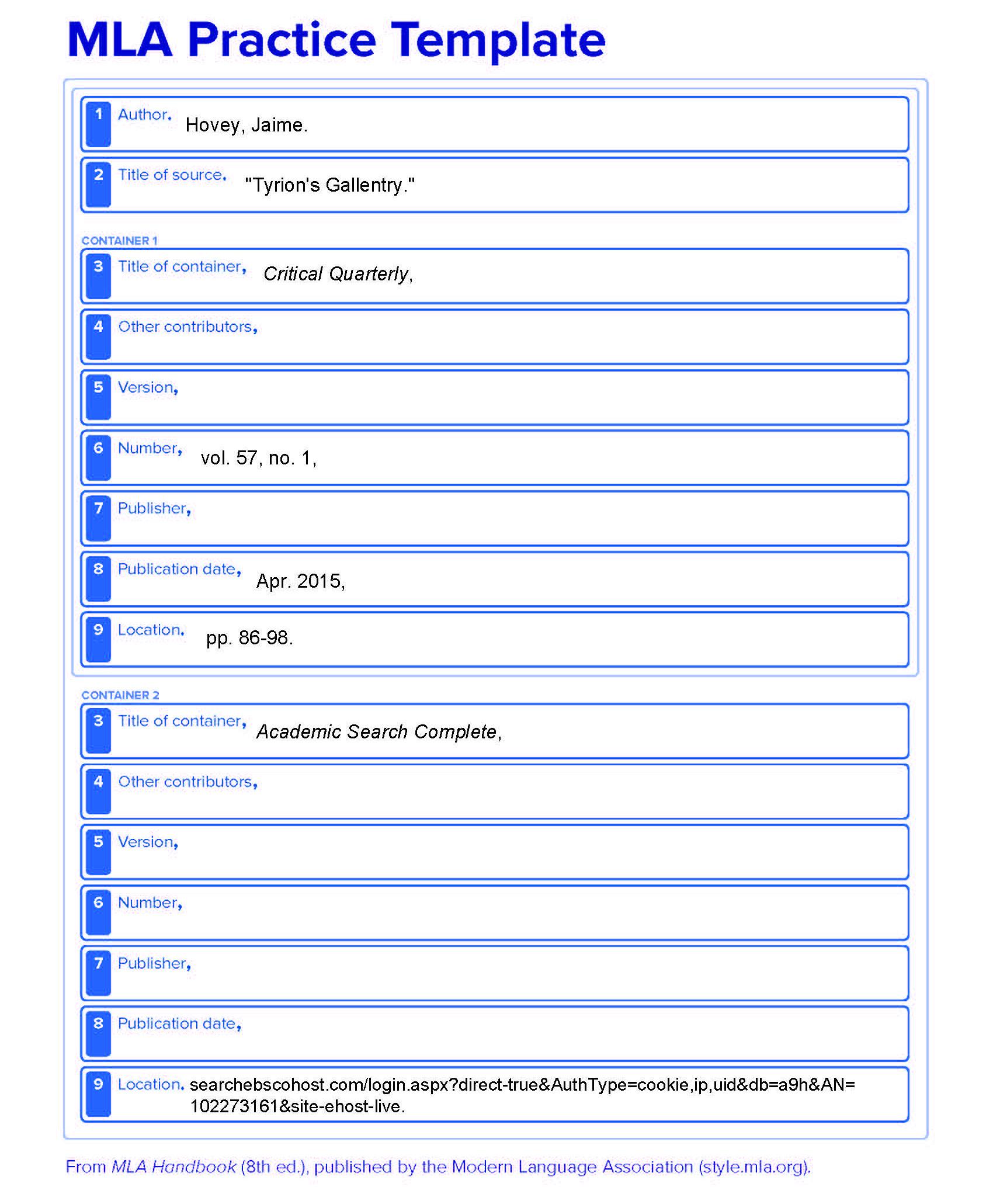mla citations template