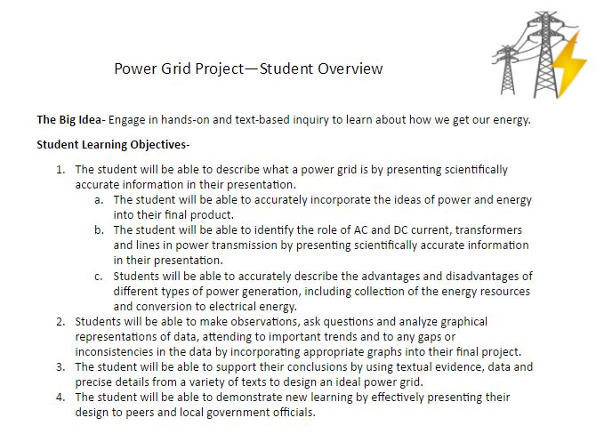 Project Sheet  Rubric - Power Grid - LibGuides at Souhegan - rubrics for project based learning