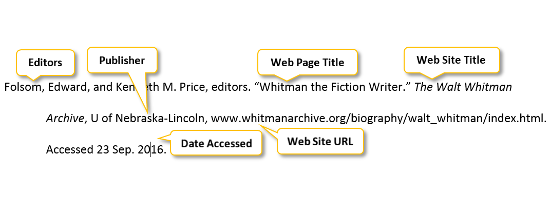 mla web in text citation