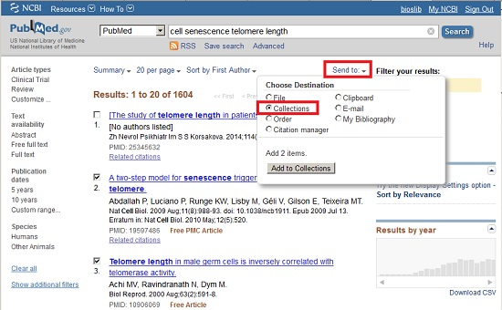 Saving and exporting citations - PubMed More Search Tips - Library