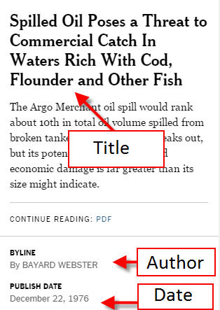 Citing From the New York Times - New York Times Online - LibGuides