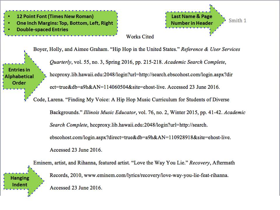 Works Cited Page - MLA - Subject Guides at Cuyahoga Community College