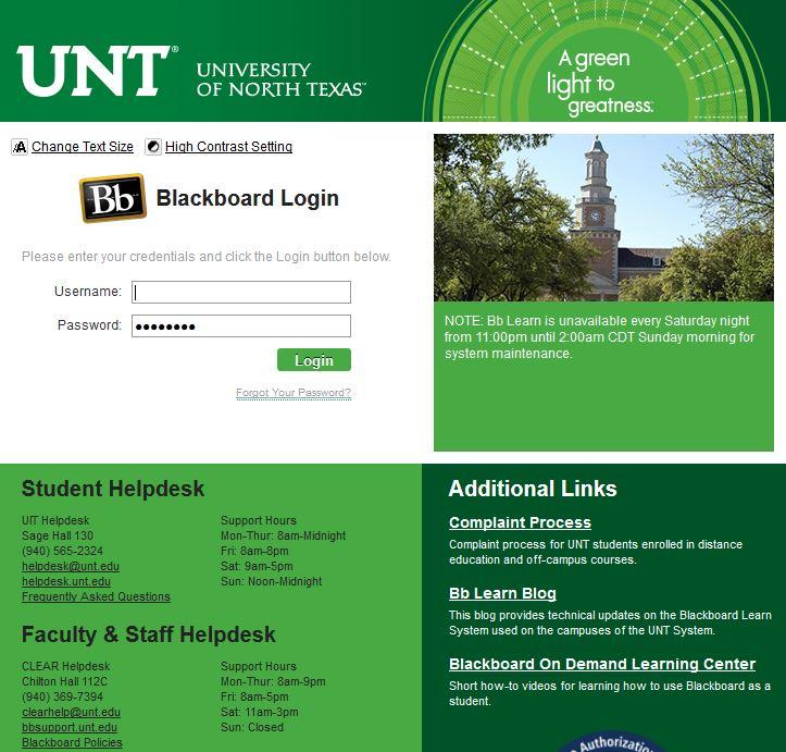 My UNT edu / Blackboard - Tips for MLIS Distance Learners