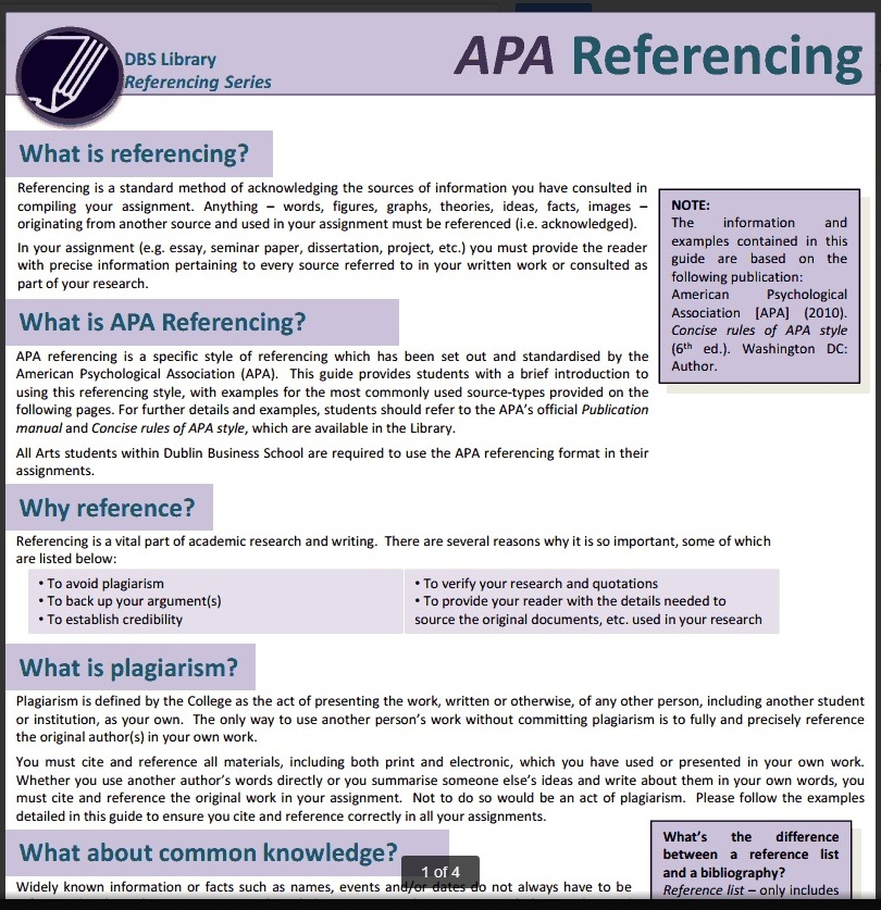 APA Style - Referencing - LibGuides at Dublin Business School
