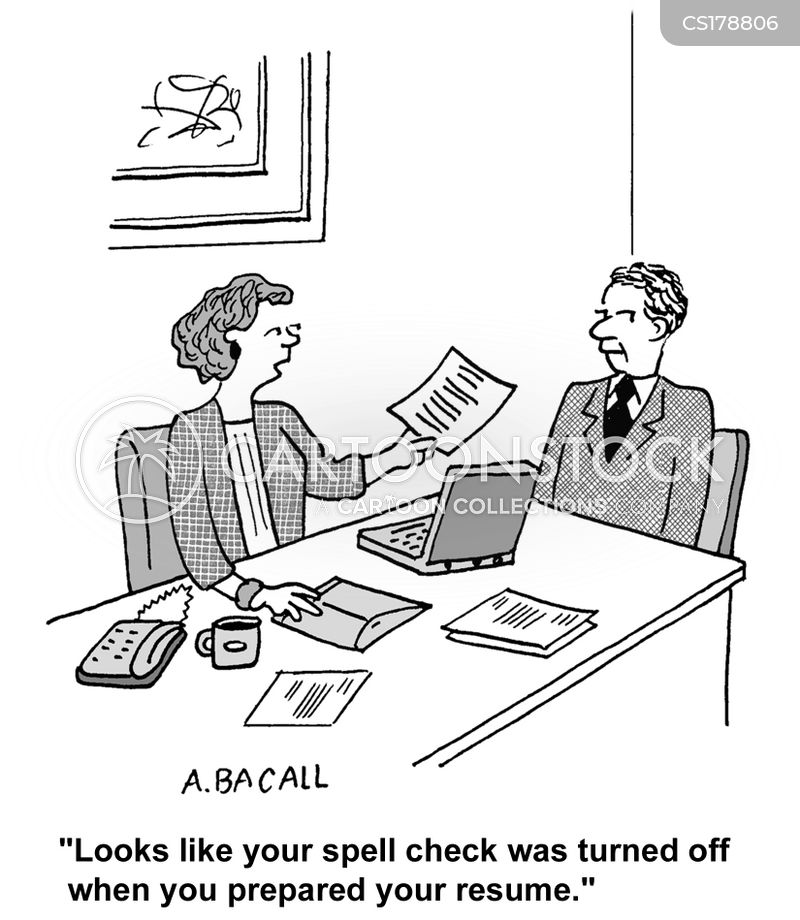 Spell Check Cartoons and Comics - funny pictures from CartoonStock - how do you spell resume