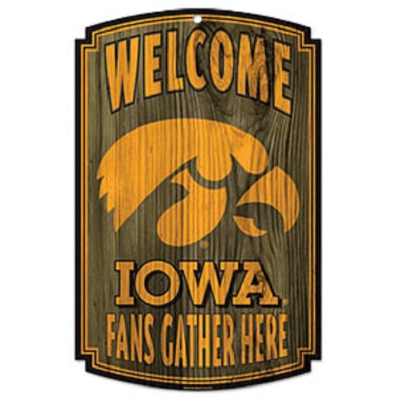 Iowa Hawkeyes NCAA Wood Sign 11x17 Gather Office Home Man Cave - ncaa home office