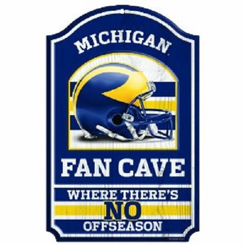 Michigan Wolverines NCAA Wood Sign 11x17 Fan Cave Office Home Man - ncaa home office