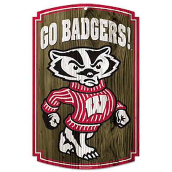 Wisconsin Badgers NCAA Wood Sign 11x17 Go Badgers Office Home Man - ncaa home office